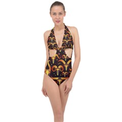 Stylised Horns Black Pattern Halter Front Plunge Swimsuit by HermanTelo
