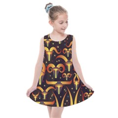Stylised Horns Black Pattern Kids  Summer Dress by HermanTelo
