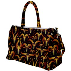 Stylised Horns Black Pattern Duffel Travel Bag by HermanTelo