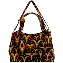Stylised Horns Black Pattern Double Compartment Shoulder Bag by HermanTelo