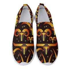 Stylised Horns Black Pattern Women s Slip On Sneakers by HermanTelo