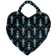 Seamless Pattern Background Black Giant Heart Shaped Tote by HermanTelo