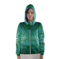 Board Conductors Circuits Women s Hooded Windbreaker by HermanTelo