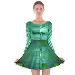 Board Conductors Circuits Long Sleeve Skater Dress by HermanTelo