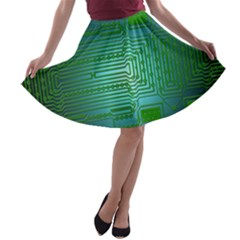 Board Conductors Circuits A-line Skater Skirt by HermanTelo