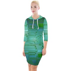 Board Conductors Circuits Quarter Sleeve Hood Bodycon Dress