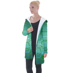 Board Conductors Circuits Longline Hooded Cardigan by HermanTelo