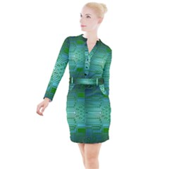 Board Conductors Circuits Button Long Sleeve Dress