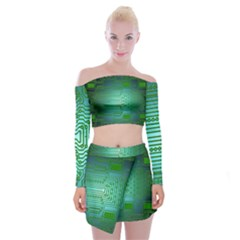 Board Conductors Circuits Off Shoulder Top With Mini Skirt Set