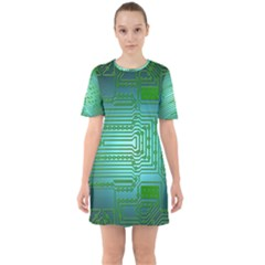 Board Conductors Circuits Sixties Short Sleeve Mini Dress by HermanTelo