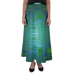 Board Conductors Circuits Flared Maxi Skirt by HermanTelo