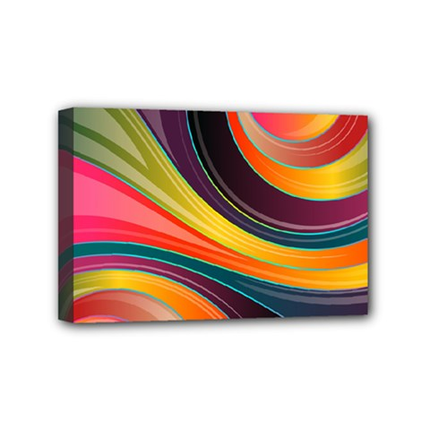 Abstract Colorful Background Wavy Mini Canvas 6  X 4  (stretched) by HermanTelo