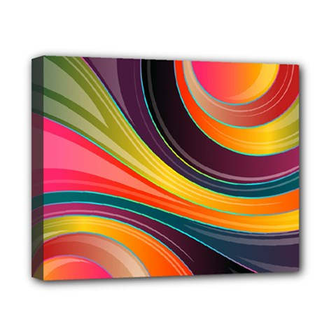 Abstract Colorful Background Wavy Canvas 10  X 8  (stretched) by HermanTelo