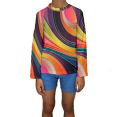 Abstract Colorful Background Wavy Kids  Long Sleeve Swimwear