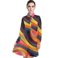 Abstract Colorful Background Wavy Long Sleeve Chiffon Shirt Dress