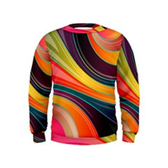 Abstract Colorful Background Wavy Kids  Sweatshirt by HermanTelo