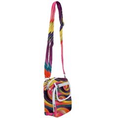 Abstract Colorful Background Wavy Shoulder Strap Belt Bag by HermanTelo