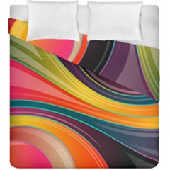 Abstract Colorful Background Wavy Duvet Cover Double Side (king Size) by HermanTelo
