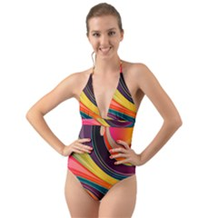 Abstract Colorful Background Wavy Halter Cut-out One Piece Swimsuit
