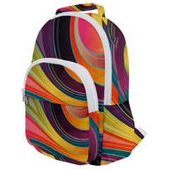 Abstract Colorful Background Wavy Rounded Multi Pocket Backpack by HermanTelo