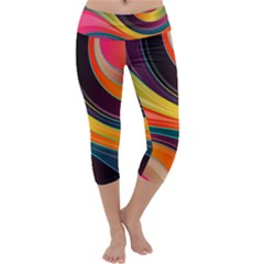 Abstract Colorful Background Wavy Capri Yoga Leggings by HermanTelo