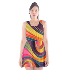 Abstract Colorful Background Wavy Scoop Neck Skater Dress by HermanTelo