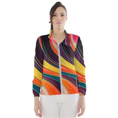 Abstract Colorful Background Wavy Women s Windbreaker by HermanTelo