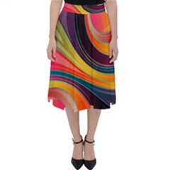 Abstract Colorful Background Wavy Classic Midi Skirt by HermanTelo