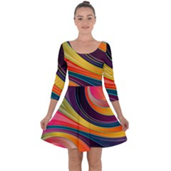 Abstract Colorful Background Wavy Quarter Sleeve Skater Dress by HermanTelo