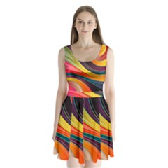 Abstract Colorful Background Wavy Split Back Mini Dress  by HermanTelo