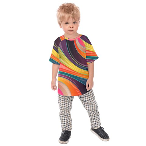 Abstract Colorful Background Wavy Kids  Raglan Tee by HermanTelo