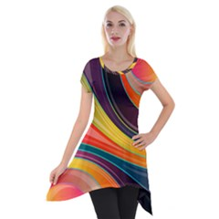 Abstract Colorful Background Wavy Short Sleeve Side Drop Tunic by HermanTelo