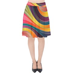 Abstract Colorful Background Wavy Velvet High Waist Skirt by HermanTelo