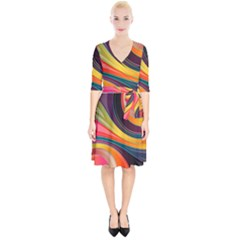 Abstract Colorful Background Wavy Wrap Up Cocktail Dress by HermanTelo