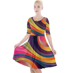 Abstract Colorful Background Wavy Quarter Sleeve A Line Dress by HermanTelo