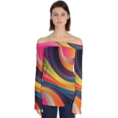 Abstract Colorful Background Wavy Off Shoulder Long Sleeve Top