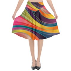 Abstract Colorful Background Wavy Flared Midi Skirt by HermanTelo
