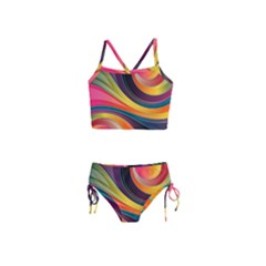 Abstract Colorful Background Wavy Girls  Tankini Swimsuit by HermanTelo