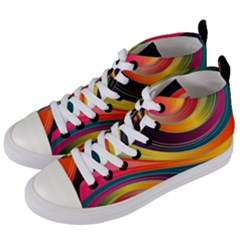 Abstract Colorful Background Wavy Women s Mid-top Canvas Sneakers by HermanTelo