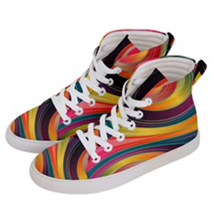 Abstract Colorful Background Wavy Women s Hi Top Skate Sneakers by HermanTelo