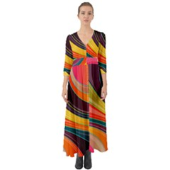 Abstract Colorful Background Wavy Button Up Boho Maxi Dress by HermanTelo