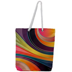 Abstract Colorful Background Wavy Full Print Rope Handle Tote (large) by HermanTelo