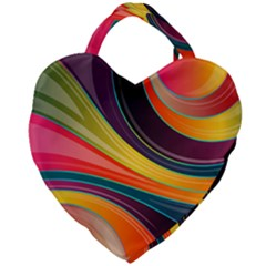 Abstract Colorful Background Wavy Giant Heart Shaped Tote by HermanTelo