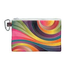 Abstract Colorful Background Wavy Canvas Cosmetic Bag (medium) by HermanTelo