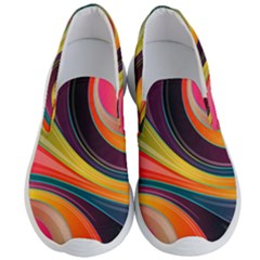 Abstract Colorful Background Wavy Men s Lightweight Slip Ons