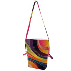 Abstract Colorful Background Wavy Folding Shoulder Bag by HermanTelo
