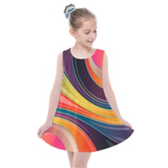 Abstract Colorful Background Wavy Kids  Summer Dress by HermanTelo