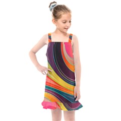 Abstract Colorful Background Wavy Kids  Overall Dress by HermanTelo