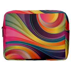 Abstract Colorful Background Wavy Make Up Pouch (large) by HermanTelo