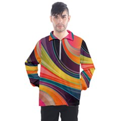 Abstract Colorful Background Wavy Men s Half Zip Pullover by HermanTelo